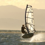 Windsurfing at Back Beach, Tahunanui, Nelson